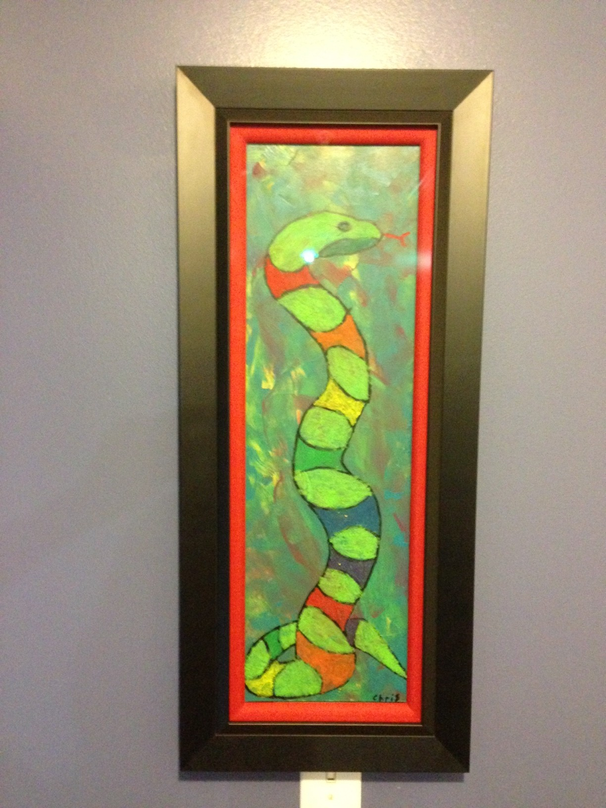 Acrylics and oil pastel snake