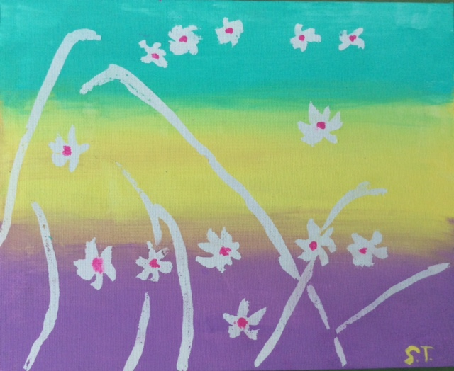 Acrylics- daisies #1 from 2015