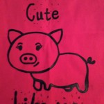 Screenprint piggy tote bag