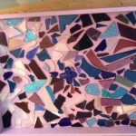 purple mosaic tray pre-grout