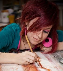 female artist painting